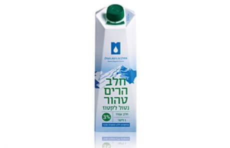 חלב הרים נטול לקטוז 3% 1 ל׳